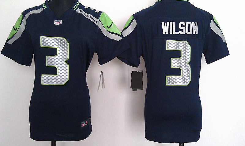 Womens Seattle Seahawks 3 Wilson Blue Nike Jerseys