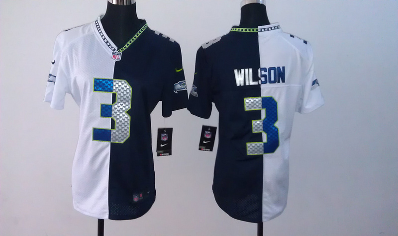 Womens Seattle Seahawks 3 Wilson Blue White Nike Split Jersey