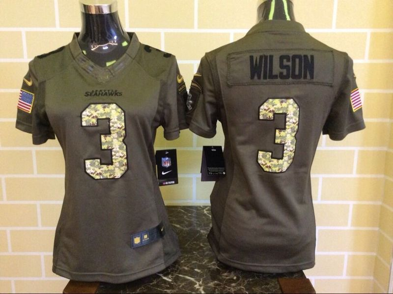 Womens Seattle Seahawks 3 Wilson Green Salute To Service Nike Limited Jersey.
