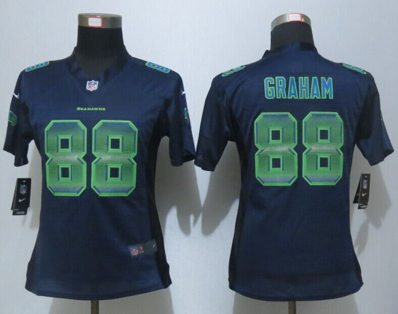 Womens Seattle Seahawks 88 Graham Navy Blue Strobe New Nike Elite Jersey