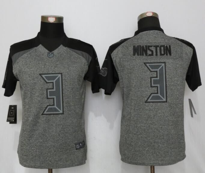 Womens Tampa Bay Buccaneers 3 Winston Gray Stitched Gridiron Gray New Nike Limited Jersey