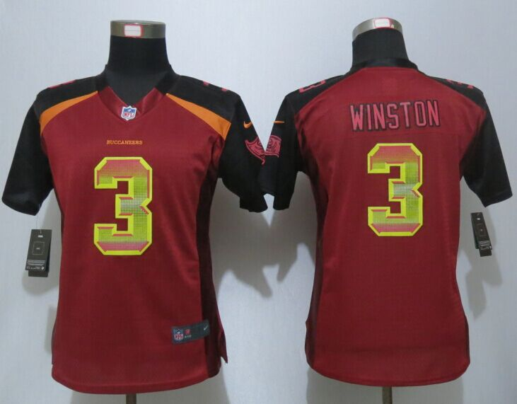 Womens Tampa Bay Buccaneers 3 Winston Red Strobe New Nike Elite Jersey