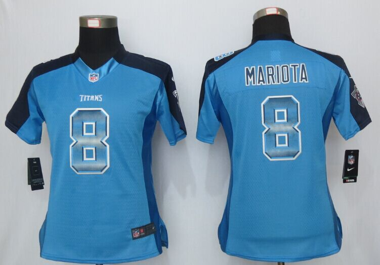 Womens Tennessee Titans 8 Mariota Blue Strobe New Nike Elite Jersey