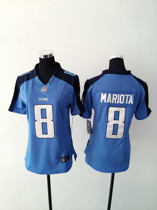 Womens Tennessee Titans 8 Mariota Light Blue Nike Jerseys