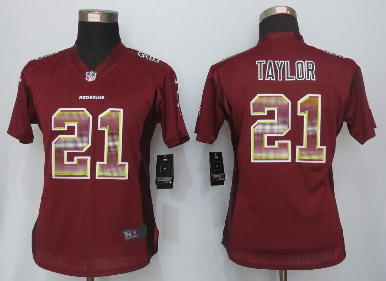 Womens Washington Red Skins 21 Taylor Red Strobe New Nike Elite Jersey
