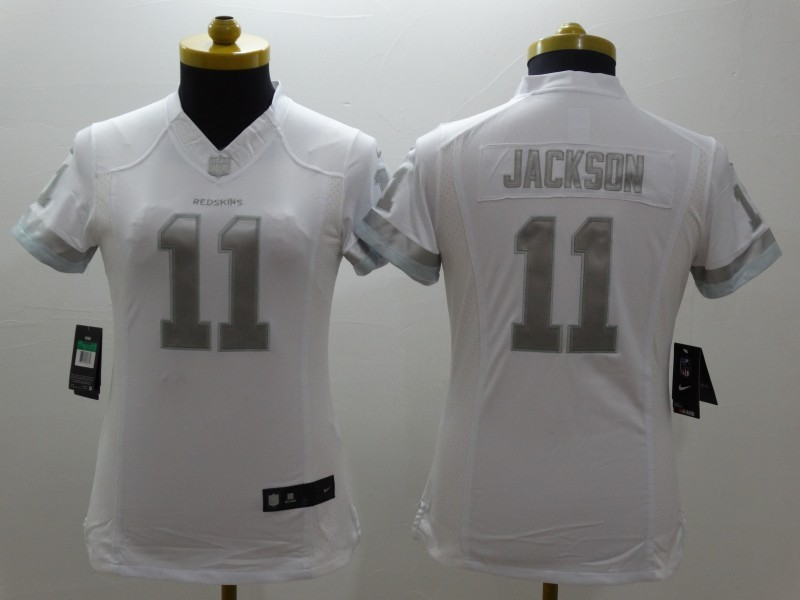 Womens Washington Redskins 11 Jackson Platinum White 2015 NEW Nike Limited Jerseys
