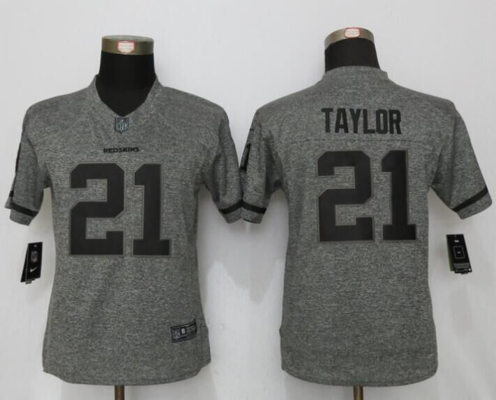Womens Washington Redskins 21 Taylor Gray Stitched Gridiron Gray New Nike Limited Jersey