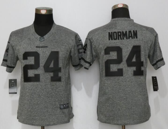 Womens Washington Redskins 24 Norman Gray Stitched Gridiron Gray New Nike Limited Jersey