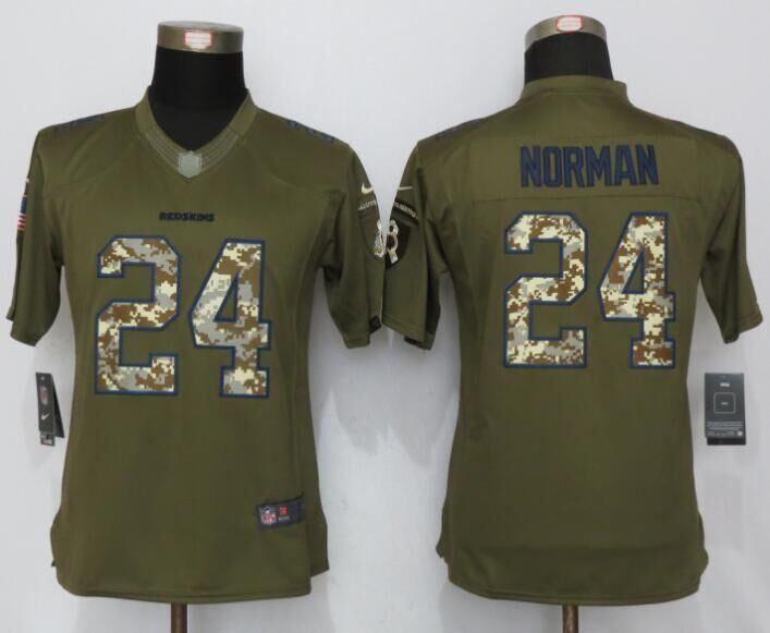 Womens Washington Redskins 24 Norman Green Salute To Service New Nike Limited Jersey