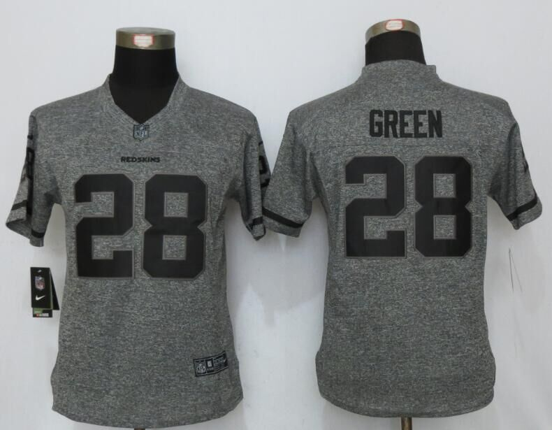 Womens Washington Redskins 28 Green Gray Stitched Gridiron Gray New Nike Limited Jersey