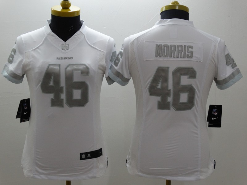 Womens Washington Redskins 46 Morris Platinum White 2015 NEW Nike Limited Jerseys