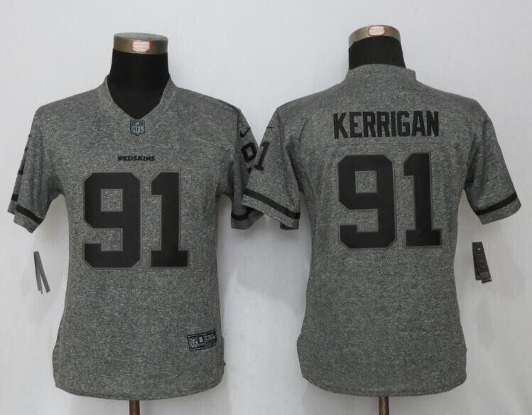 Womens Washington Redskins 91 Kerrigan Gray Stitched Gridiron Gray New Nike Limited Jersey