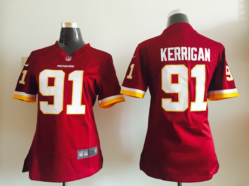 Womens Washington Redskins 91 Kerrigan Red Nike Jerseys