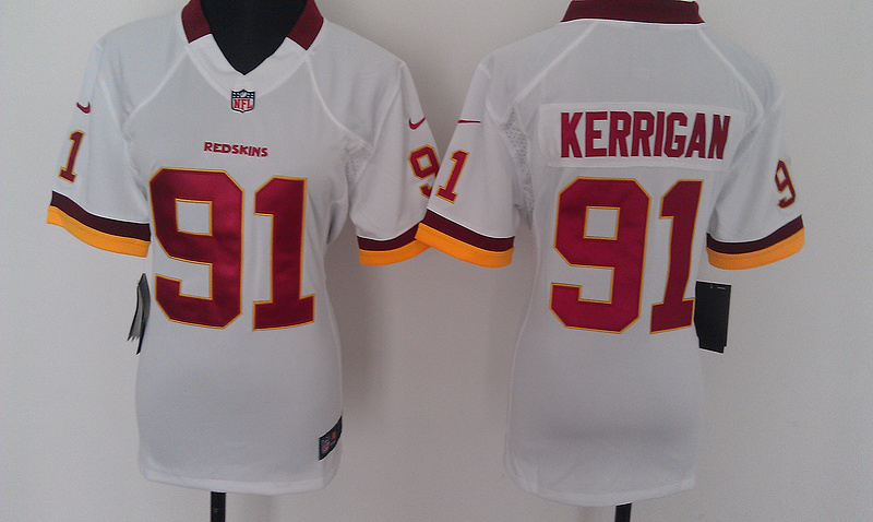 Womens Washington Redskins 91 Kerrigan White Nike Jerseys