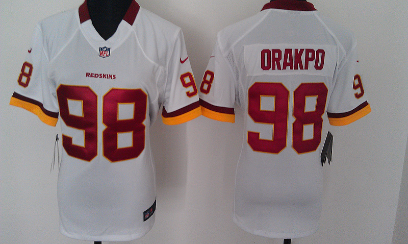 Womens Washington Redskins 98 Orakpo White Nike Jerseys