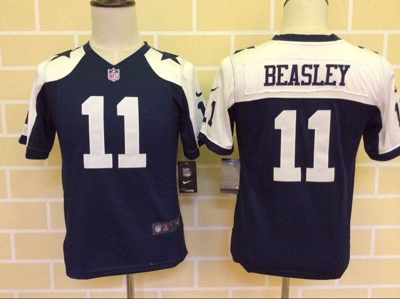 Youth Dallas Cowboys 11 Beasley Blue Thanksgiving 2015 Nike Jerseys