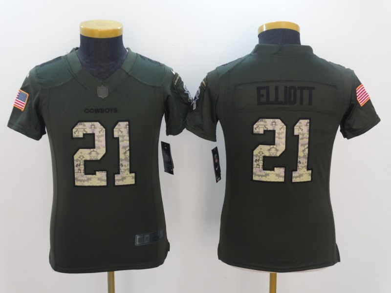 Youth Dallas Cowboys 21 Elliott Green Salute TO Service Jerseys