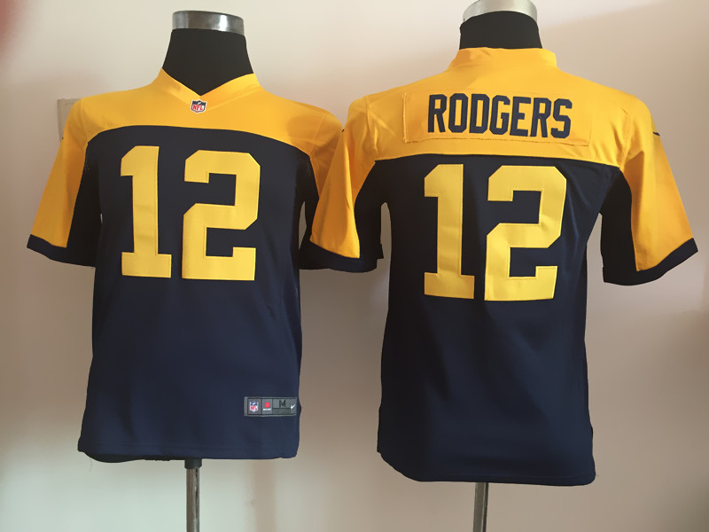 Youth Green Bay Packers 12 Rodgers Blue Nike Jerseys