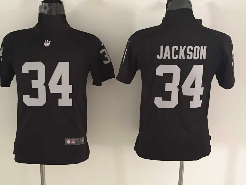 Youth Oakland Raiders 34 Jackson Black Nike Jerseys