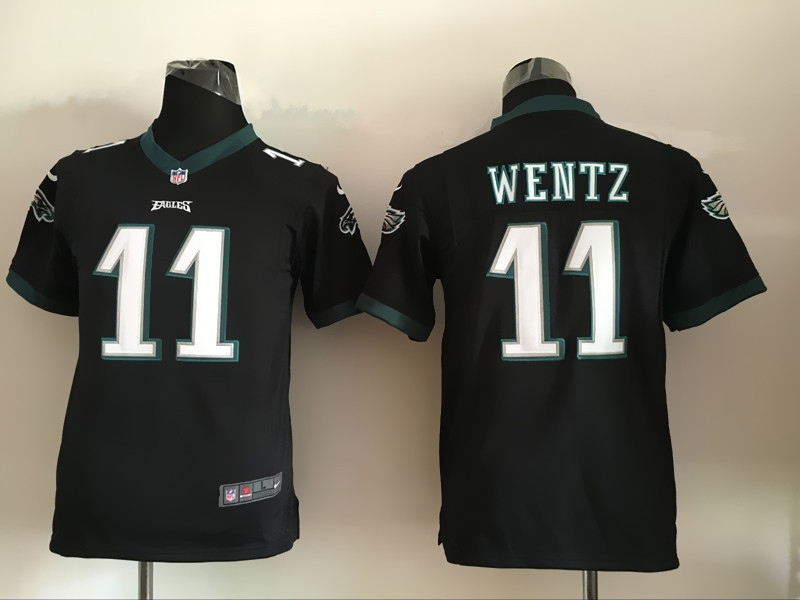 Youth Philadelphia Eagles 11 Carson Wentz Black 2016 Nike Jerseys