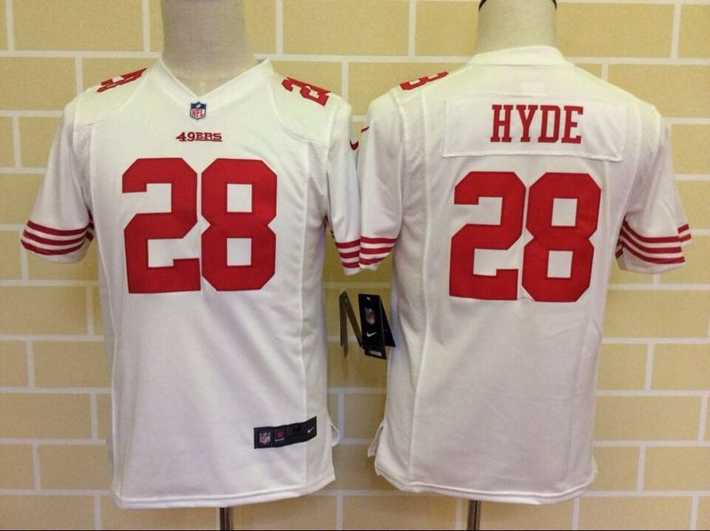 Youth San Francisco 49ers 28 Hyde White 2015 Nike Jerseys