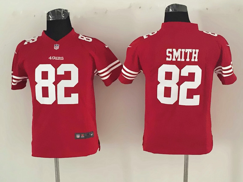 Youth San Francisco 49ers 82 Smith Red Nike Jerseys