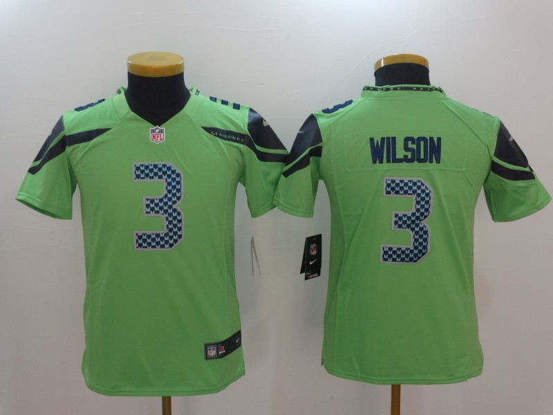Youth Seattle Seahawks 3 Russell Wilson Green Color Rush Limited Jersey