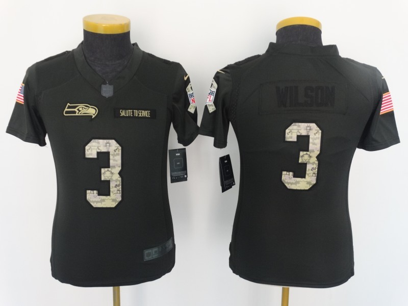 Youth Seattle Seahawks 3 Wilson 2016 Nike Anthracite Salute to Service Limited Jersey