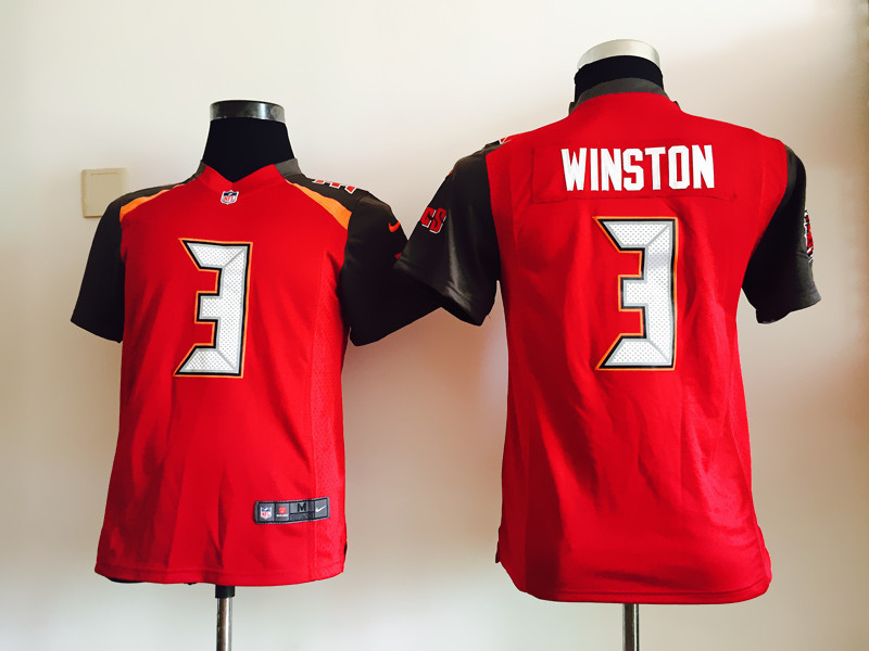 Youth Tampa Bay Buccaneers 3 Winston Red Nike Jerseys