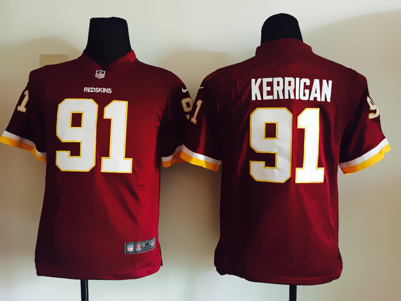 Youth Washington Redskins 91 Kerrigan Red 2015 Nike Jersey
