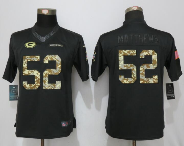 women New Nike Green Bay Packers 52 Matthews Anthracite Salute To Service Elite Jersey