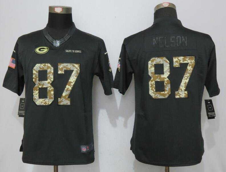 women New Nike Green Bay Packers 87 Nelson Anthracite Salute To Service Elite Jersey