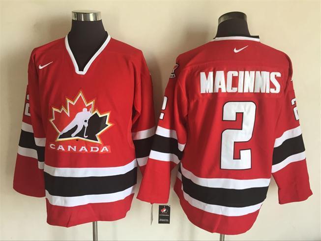 86009b540 2002 Winter Olympic Team Canada 2 Macinnis Red Hockey Throwback Jerseys