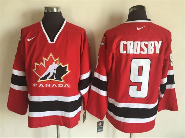 2002 Winter Olympic Team Canada 9 Crosby Red Hockey Throwback Jerseys