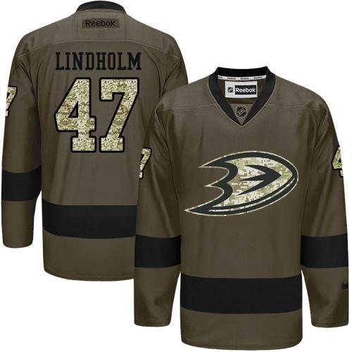 2016 Anaheim Ducks 47 Hampus Lindholm Green Salute to Service Stitched NHL Jersey