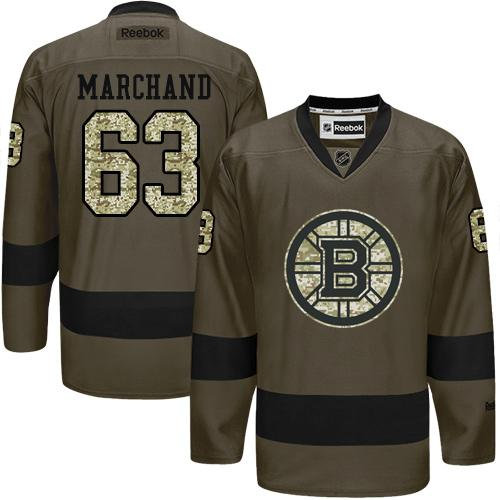 2016 Boston Bruins 63 Brad Marchand Green Salute to Service Stitched NHL Jersey