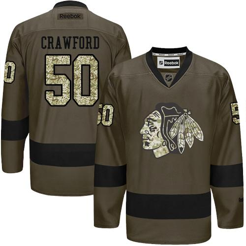 2016 Chicago Blackhawks 50 Corey Crawford Green Salute to Service Stitched NHL Jersey