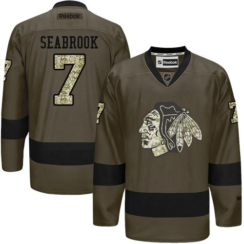 2016 Chicago Blackhawks 7 Brent Seabrook Green Salute to Service Stitched NHL Jersey