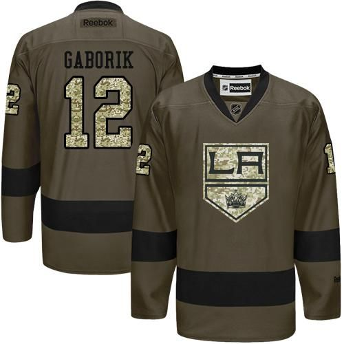 2016 Los Angeles Kings 12 Marian Gaborik Green Salute to Service Stitched NHL Jersey