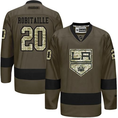 2016 Los Angeles Kings 20 Luc Robitaille Green Salute to Service Stitched NHL Jersey