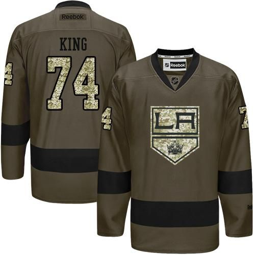 2016 Los Angeles Kings 74 Dwight King Green Salute to Service Stitched NHL Jersey