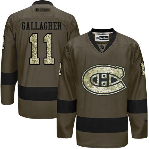 2016 Montreal Canadiens 11 Brendan Gallagher Green Salute to Service Stitched NHL Jersey