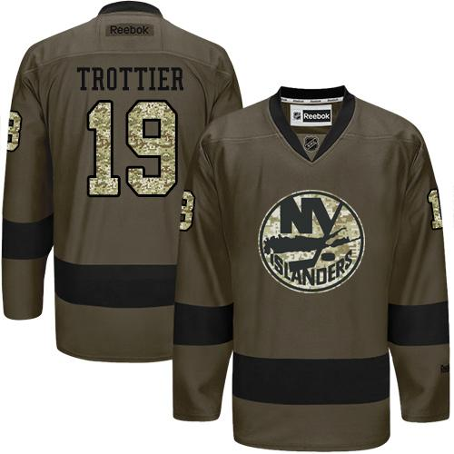2016 NEW YorkIslanders 19 Bryan Trottier Green Salute to Service Stitched NHL Jersey