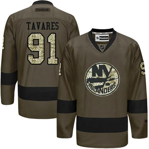 2016 NEW YorkIslanders 91 John Tavares Green Salute to Service Stitched NHL Jersey