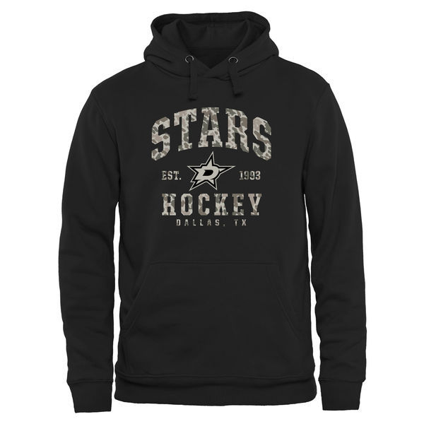 2016 NHL Men's Dallas Stars Black Camo Stack Pullover Hoodie