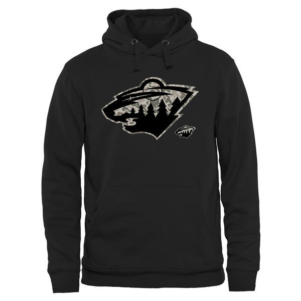 2016 NHL Men's Minnesota Wild Black Rink Warrior Pullover Hoodie