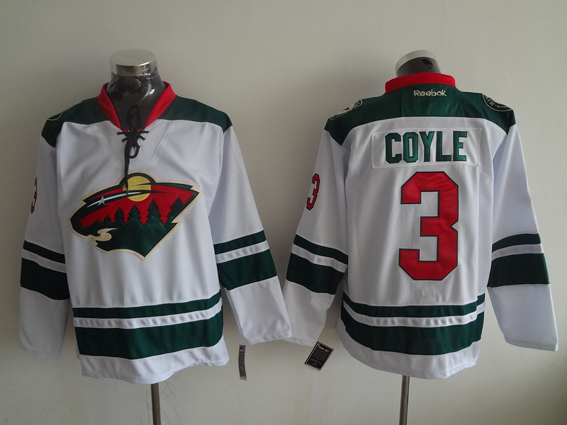 2016 NHL Minnesota Wild 3 Coyle White Jerseys