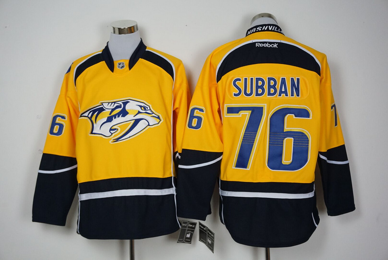 2016 NHL Nashville Predators 76 Subban Yellow Jerseys