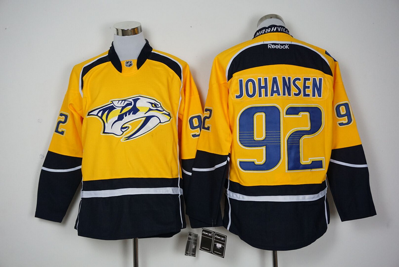 2016 NHL Nashville Predators 92 Johansen Yellow Jerseys