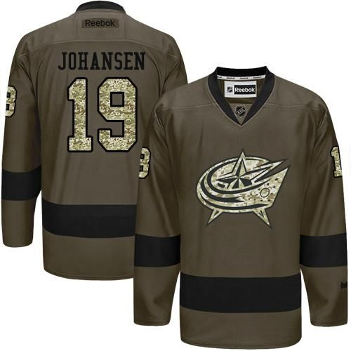 2016 St.Louis Blue Jackets 19 Ryan Johansen Green Salute to Service Stitched NHL Jersey